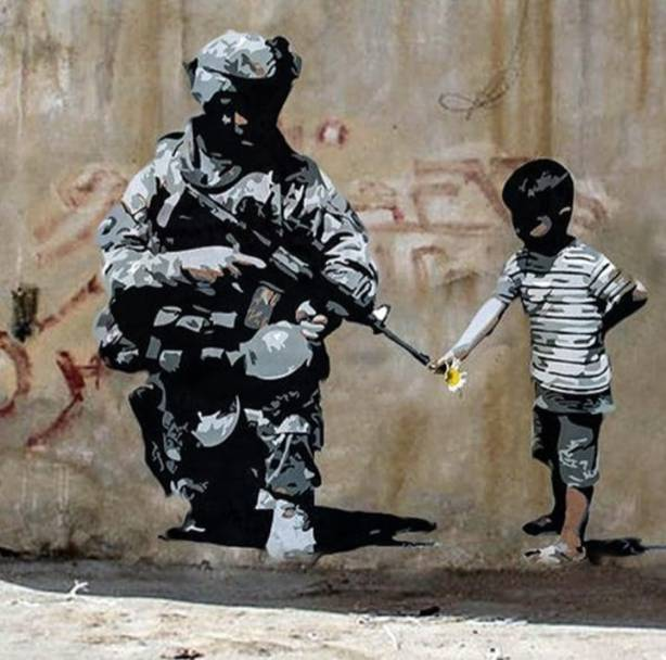 Banksy soldier flower