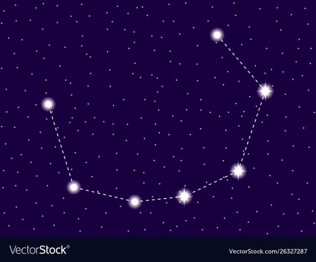 Corona borealis constellation. Starry night sky. Zodiac sign. Cl